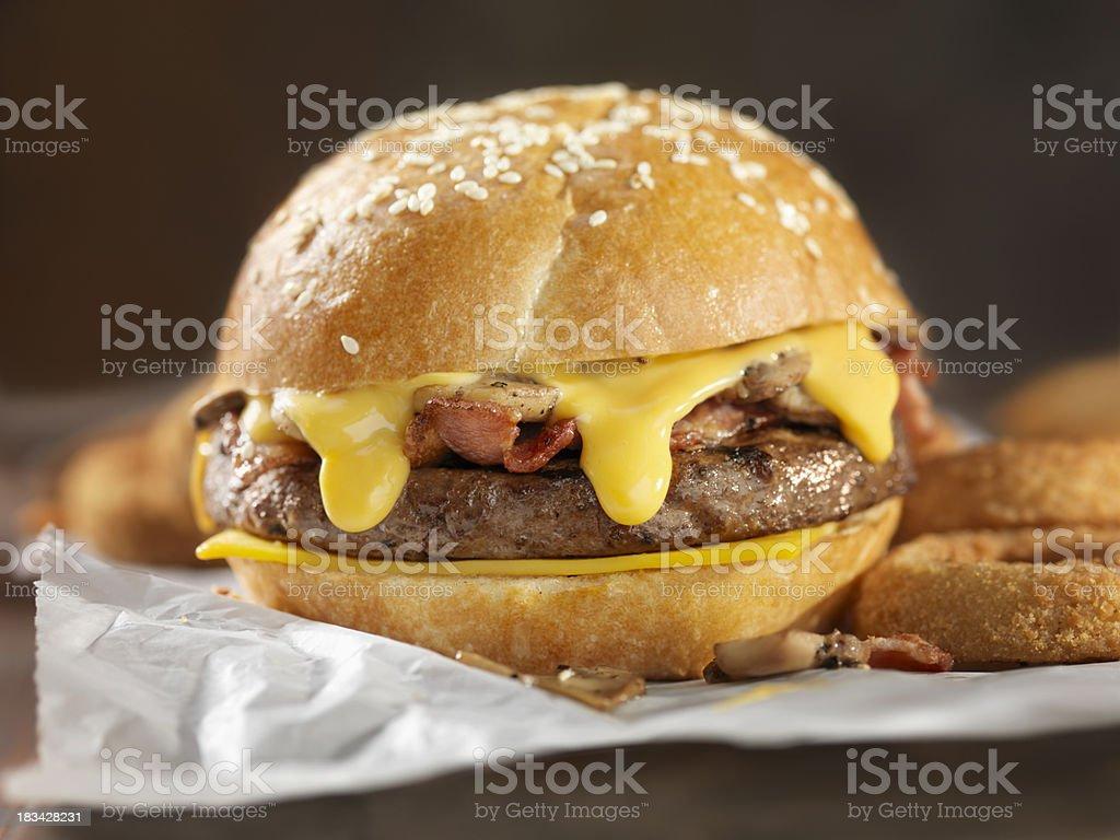 Bacon Mushroom Cheeseburger royalty-free stock photo