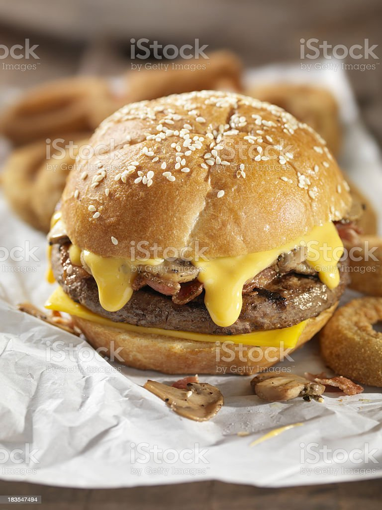 Bacon Mushroom Cheeseburger royalty-free stock photo