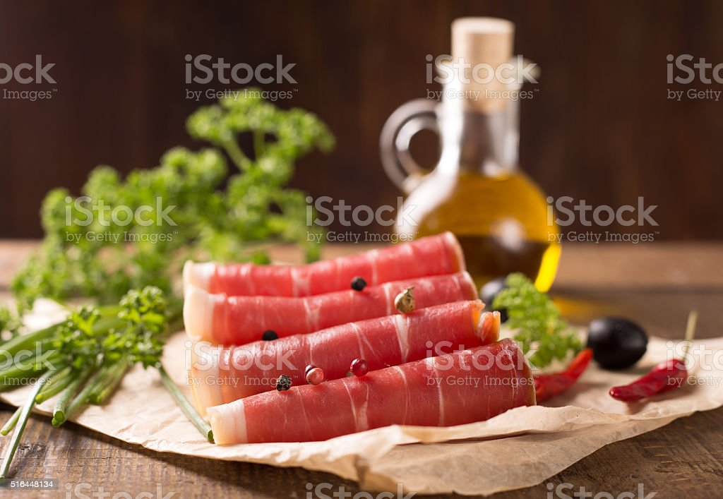 bacon on wooden table stock photo