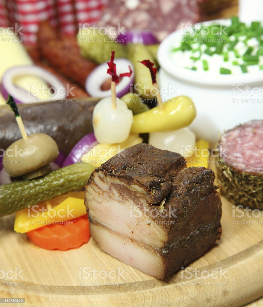 Bacon or wurzelspeck royalty-free stock photo