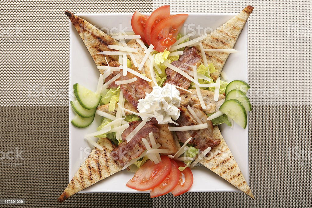 bacon salad with toasts royalty-free stock photo