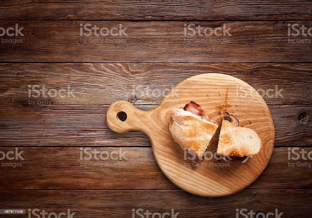 Bacon Sandwich on Wood stock photo