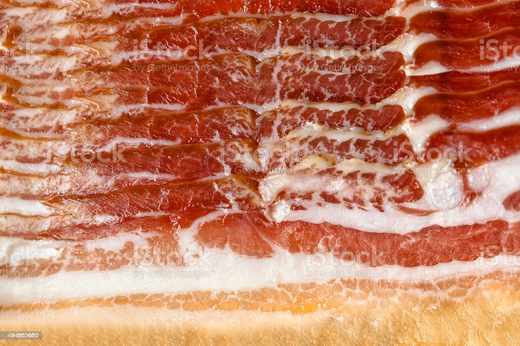 Bacon slices on the package stock photo
