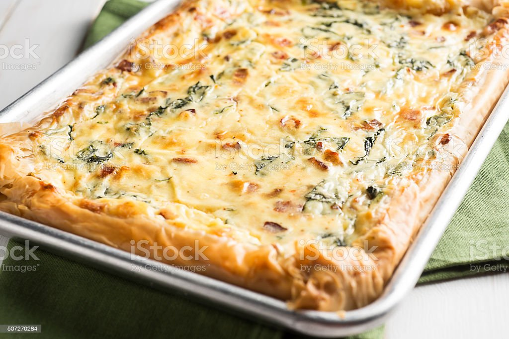 Bacon Spinach Ricotta Tart stock photo