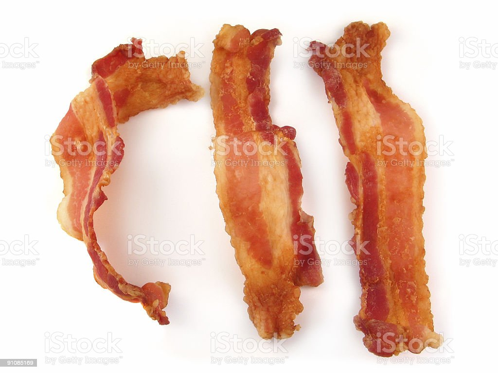 Bacon Strips Or Slices Isolated On White Background stock photo