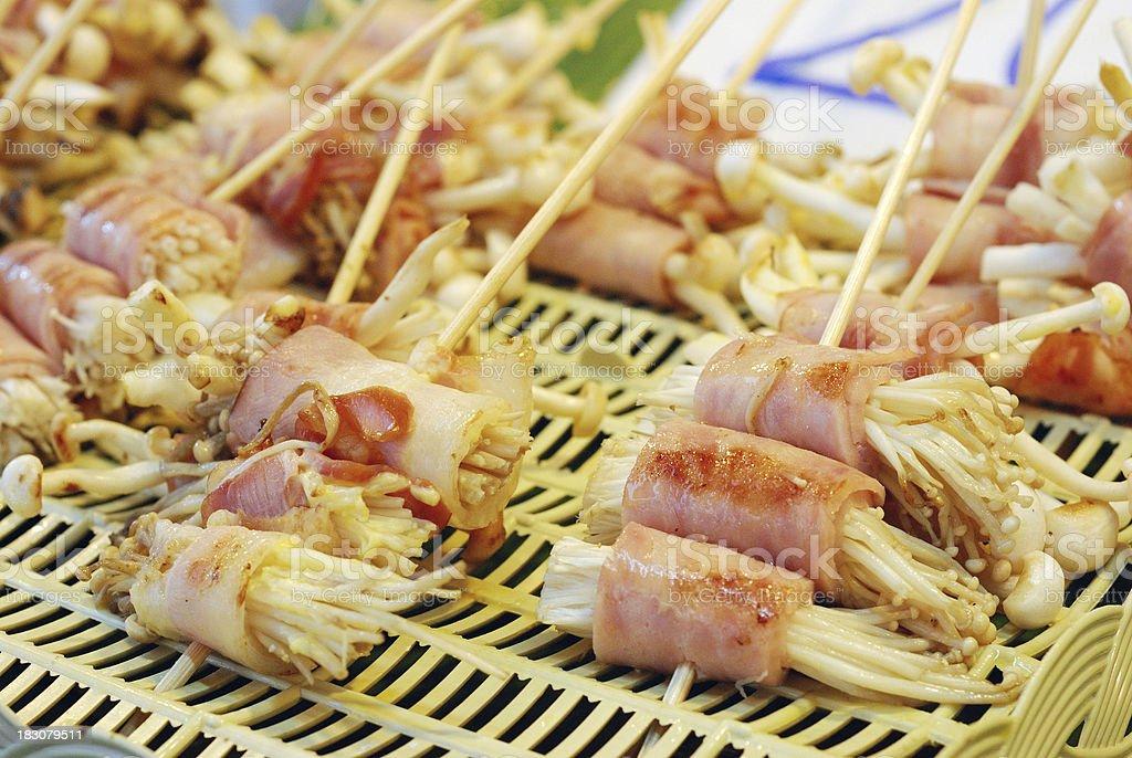 bacon wrap mushroom royalty-free stock photo