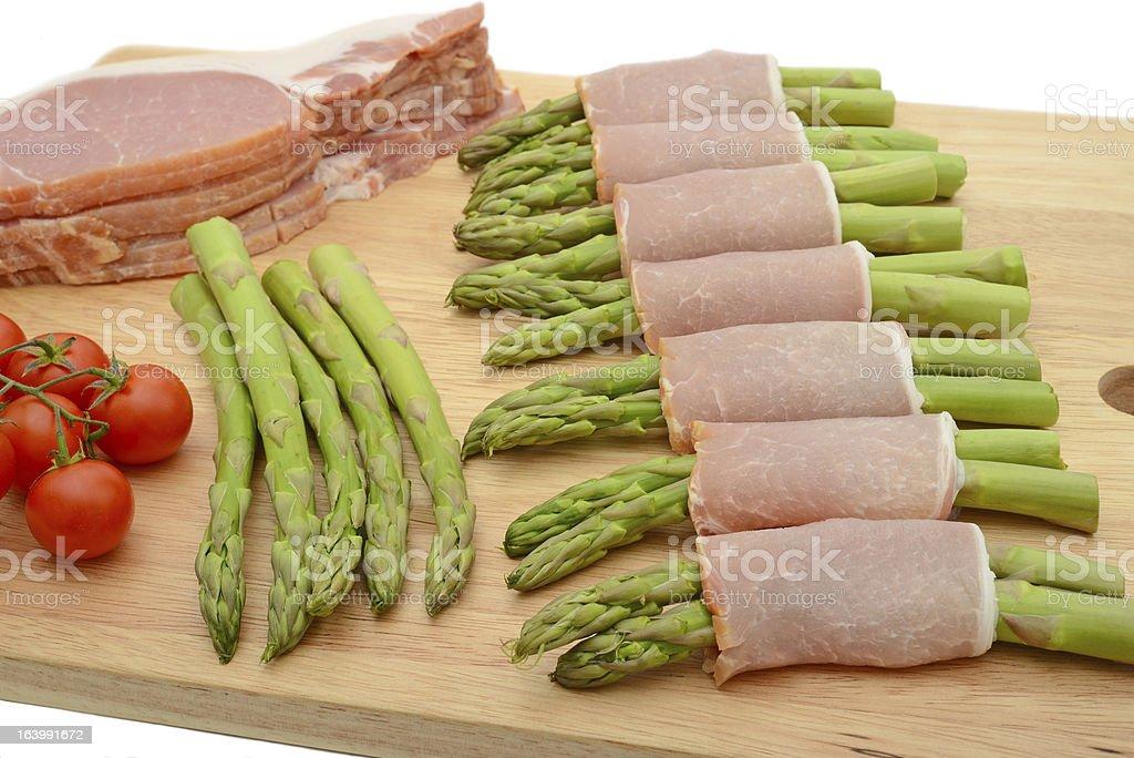 Bacon wrapped asparagus royalty-free stock photo
