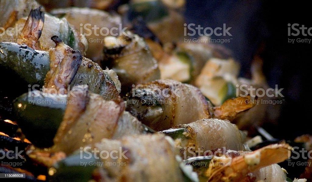 bacon wrapped jalapenos shrimp stock photo