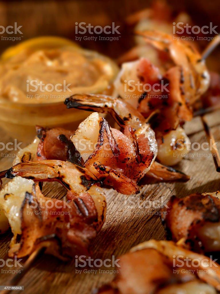 Bacon Wrapped Shrimp stock photo