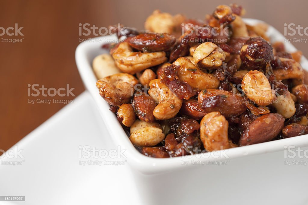 Bacon-Maple Spiced Nuts royalty-free stock photo