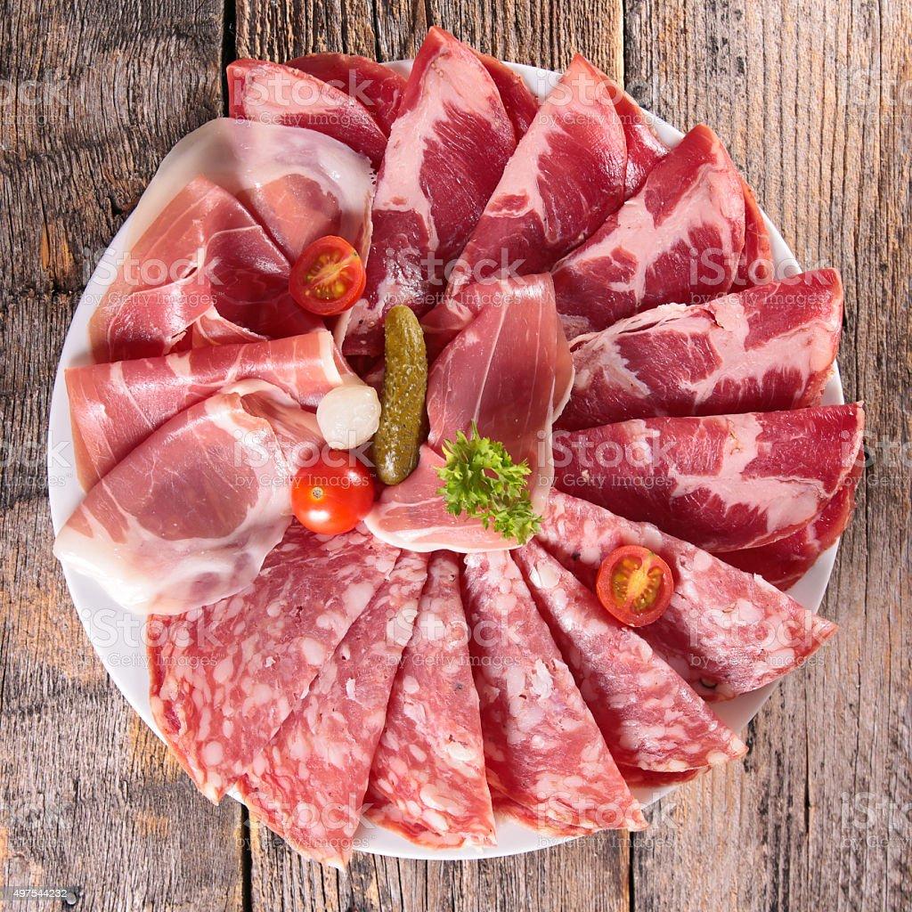 bacon,salami and ham stock photo