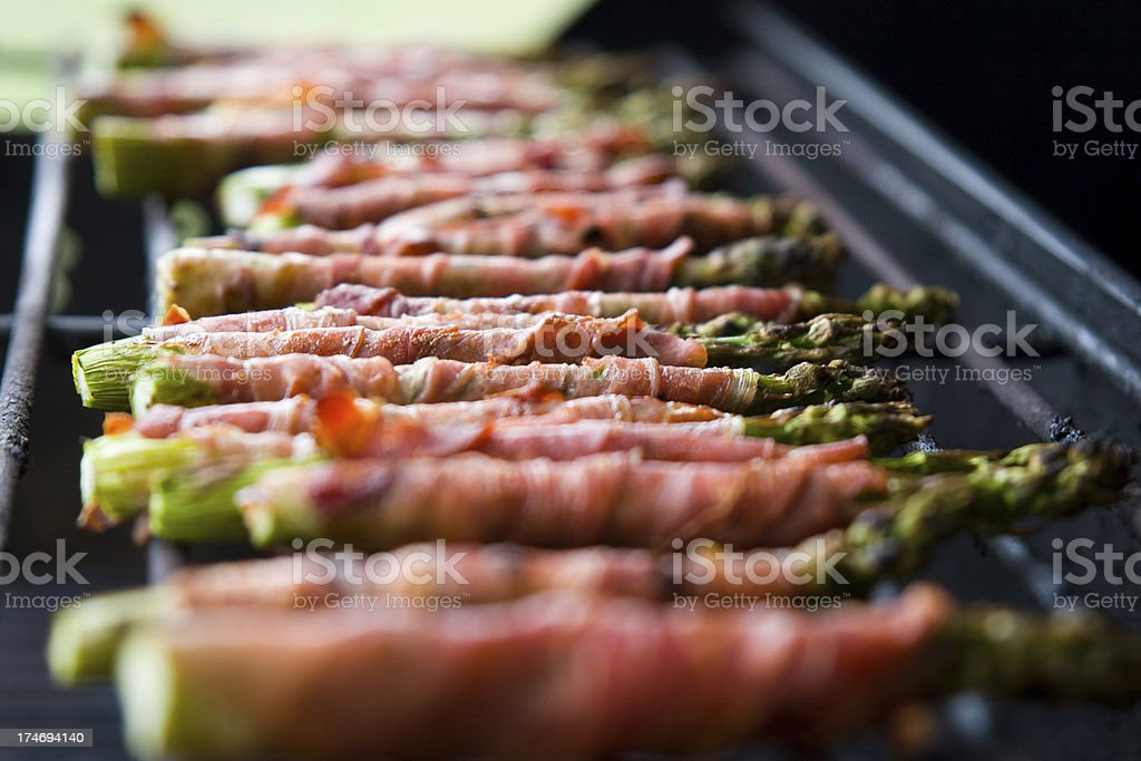 Bacon-wrapped asparagus royalty-free stock photo