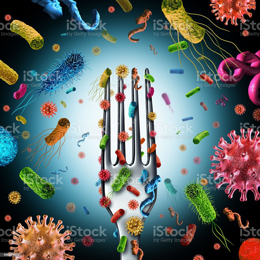 Bacteria And Germs On Food stock photo