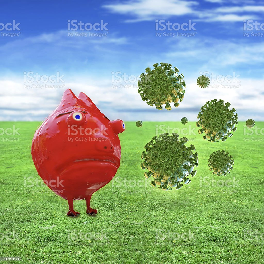Bacteria and Virus cells - 3d rendered illustration royalty-free stock photo