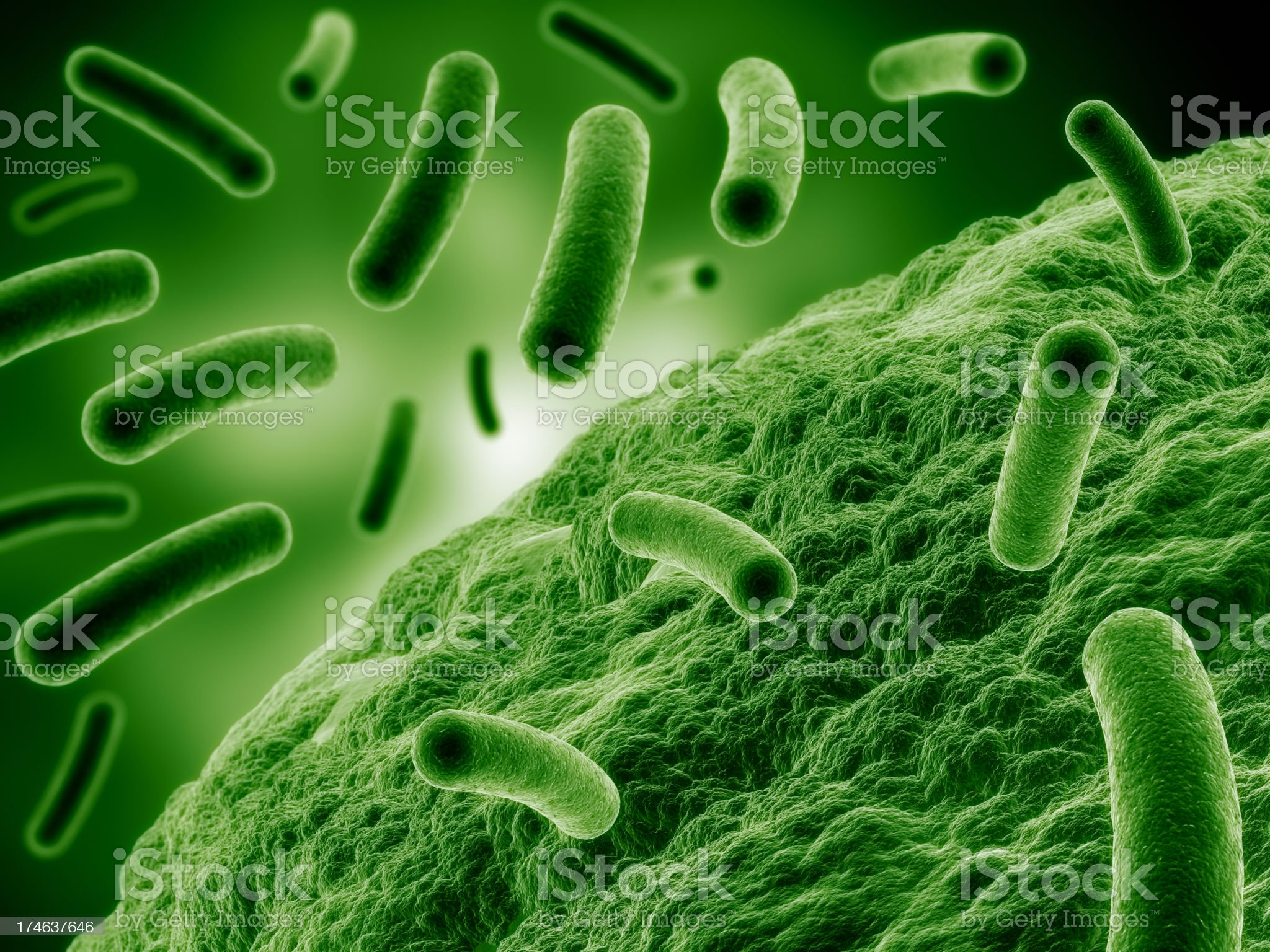 Bacteria attacking cell royalty-free stock photo