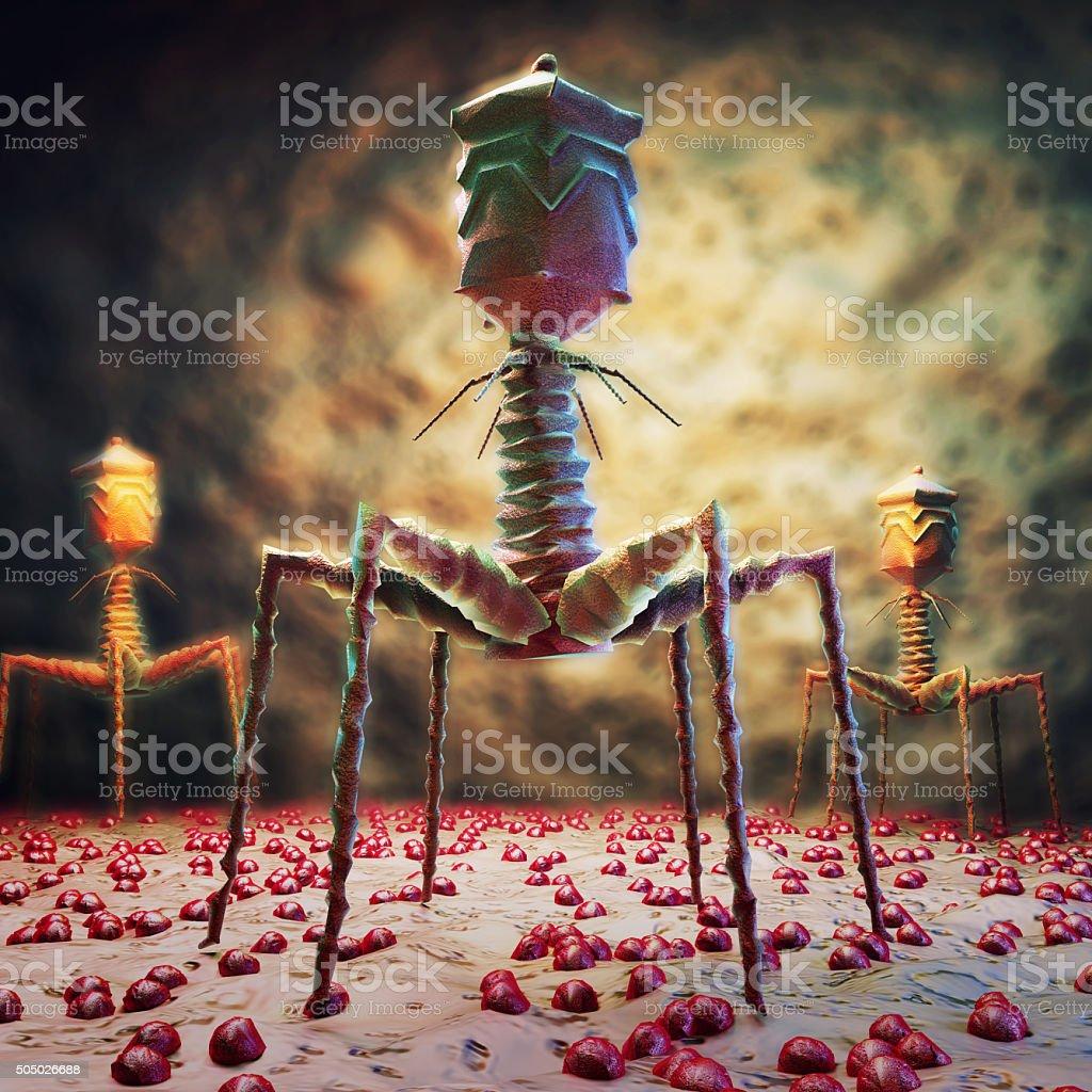 Bacteriophage T4 virus. stock photo