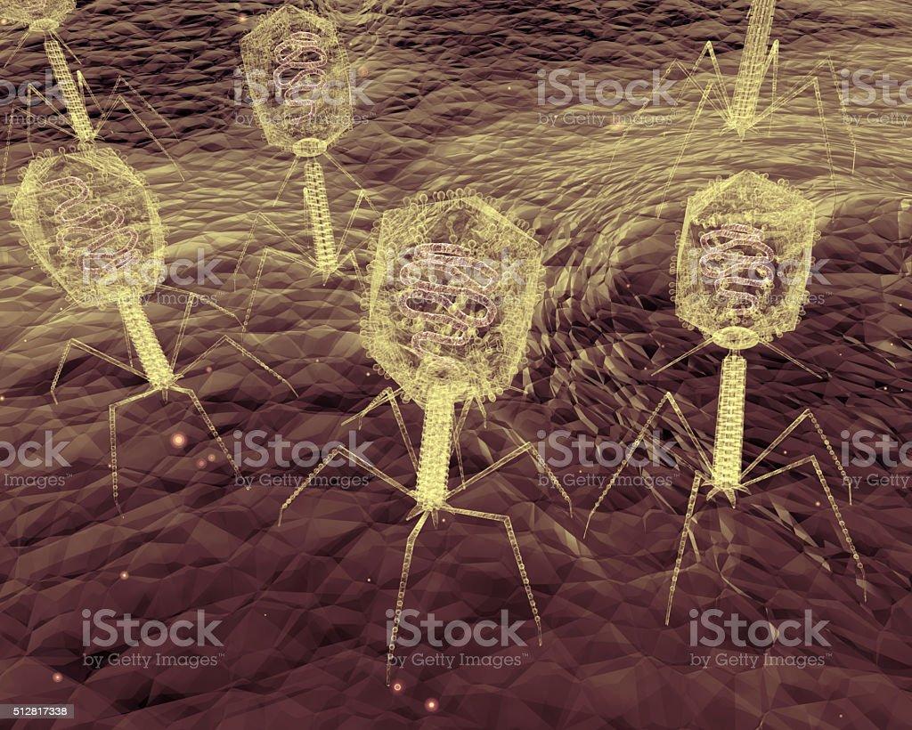 Bacteriophage Viruses Up-Close stock photo