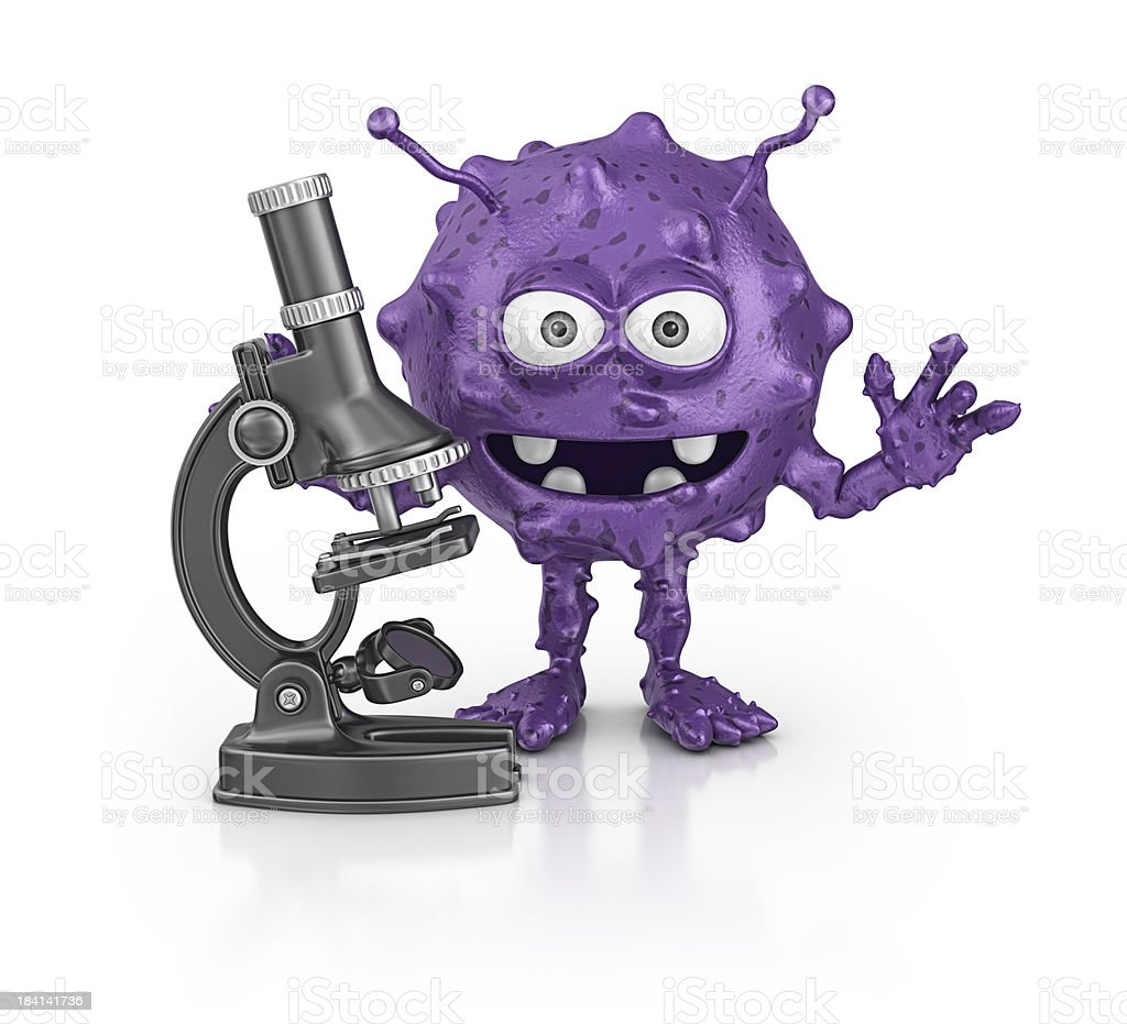 bacterium and microscope royalty-free stock photo