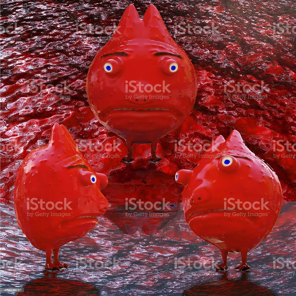 Bacterium character - 3d rendered illustration royalty-free stock photo