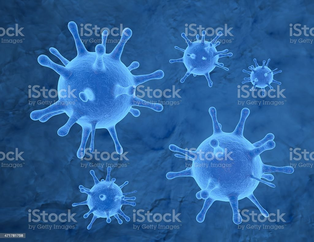 Bacterium, virus 3d render, blue background. stock photo
