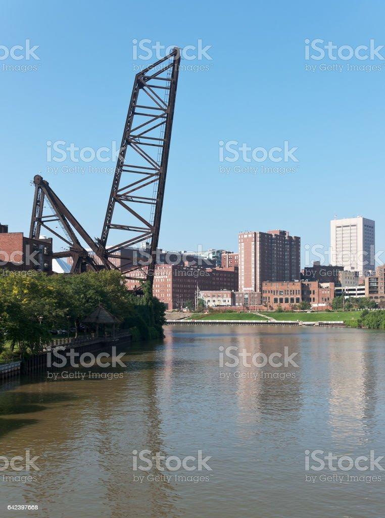 Bacule Style Bridge On The Cuyahoga River stock photo
