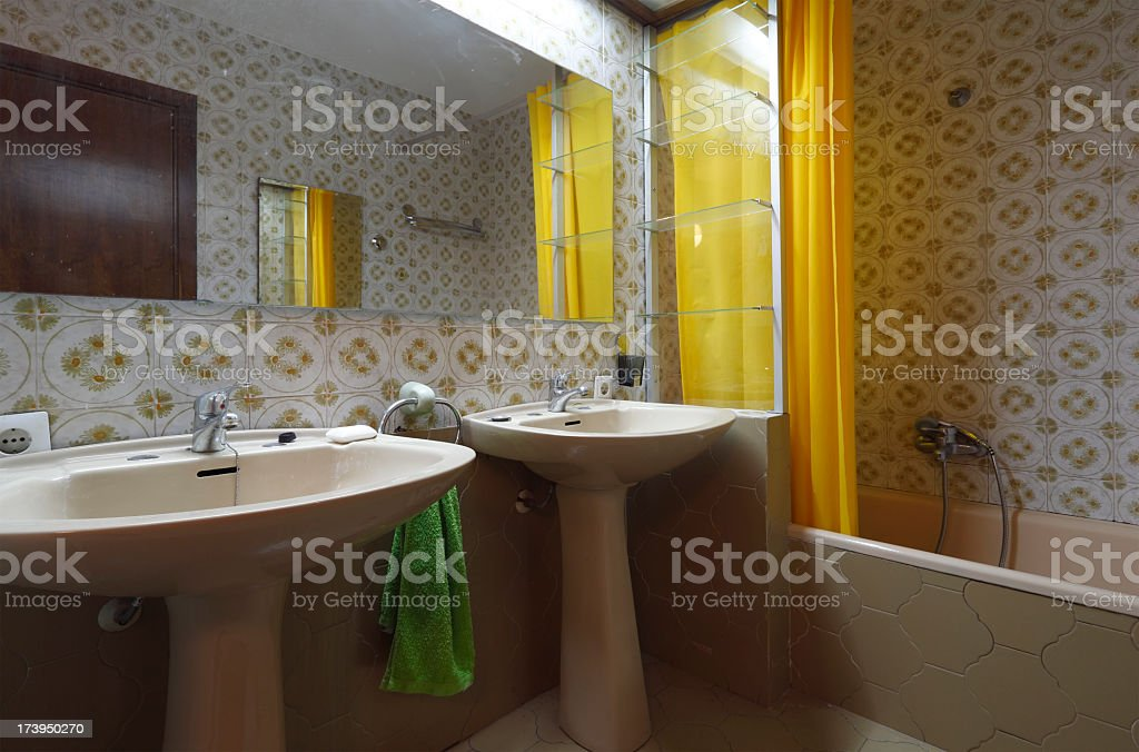 Bad 1970s bathroom stock photo
