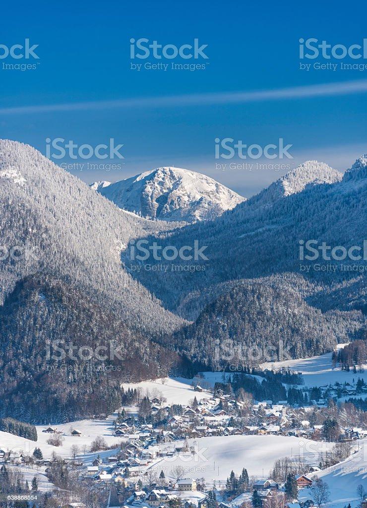 Bad Aussee, Ausseerland, Austrian Alps Panorama stock photo