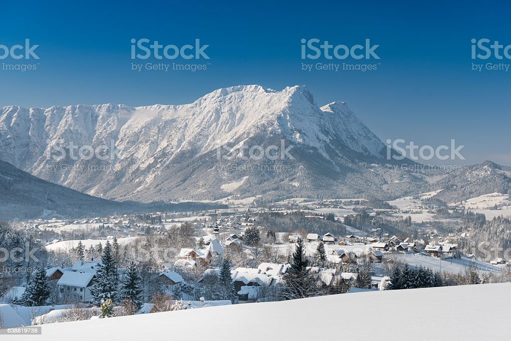 Bad Aussee, Austrian Alps Panorama stock photo