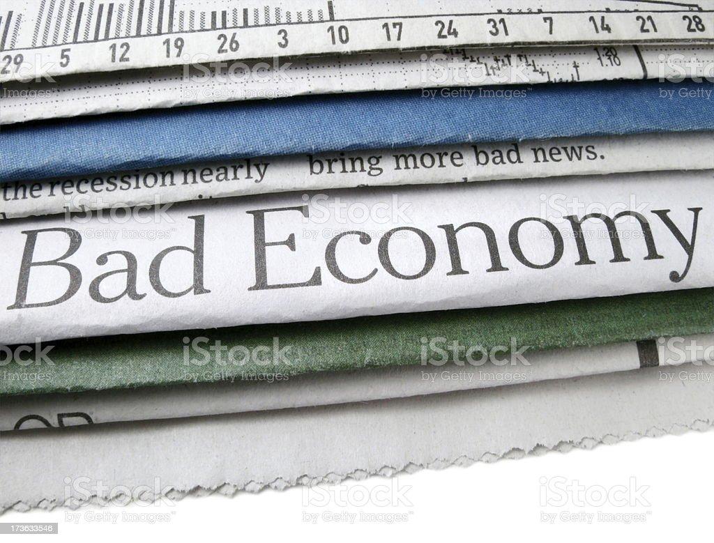 Bad Economy Headline stock photo