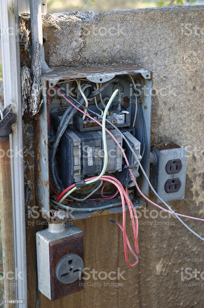 Bad Electrical Work royalty-free stock photo