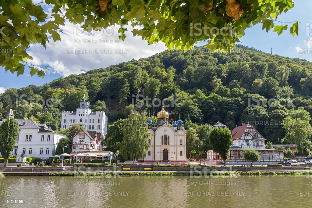 Bad Ems at the river Lahn Buildings stock photo