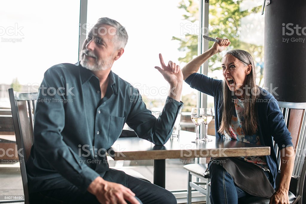 Bad First Date Mature Couple stock photo
