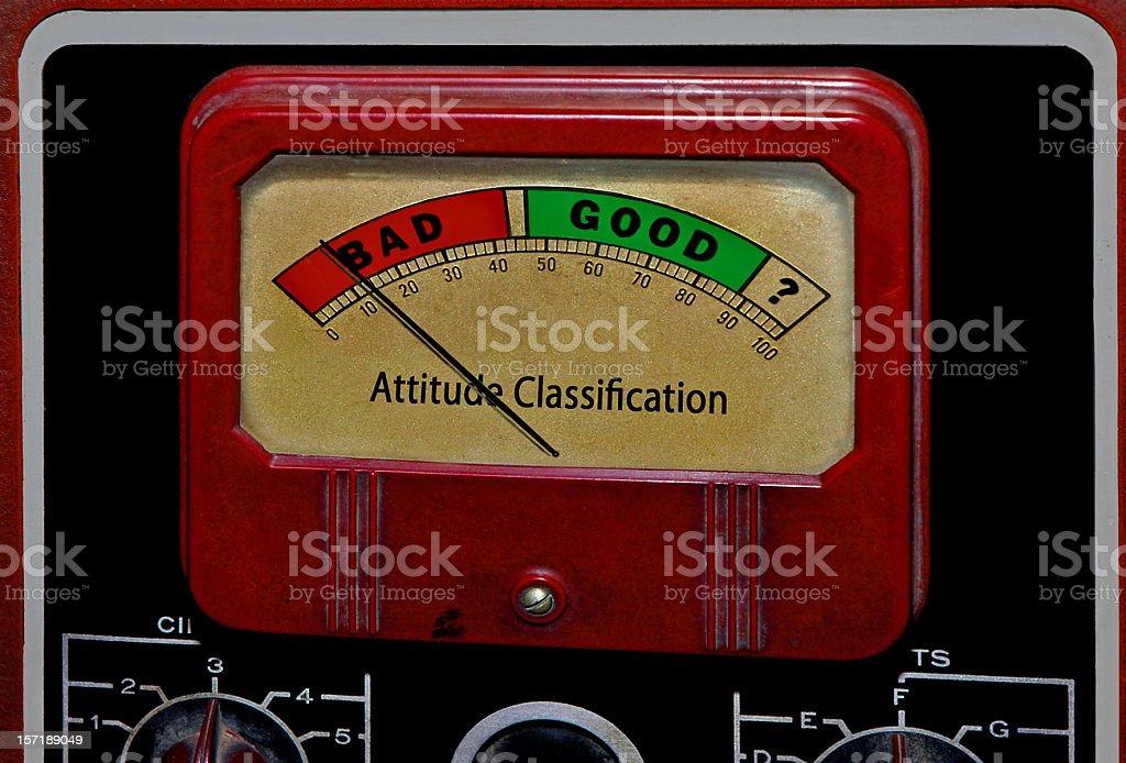 Bad Good Attitude Classification Meter: Stubborness or Enthusiasm, Effort, Initiative royalty-free stock photo