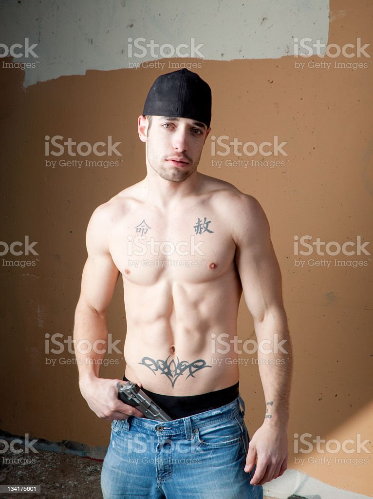 Bad guy with a gun royalty-free stock photo