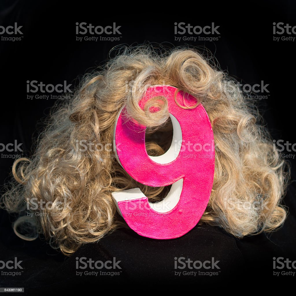 Bad hair day number 9 blond curls stock photo