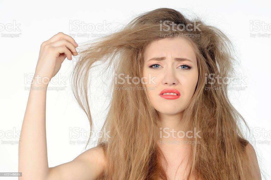 bad hair day woman expressing negativity stock photo