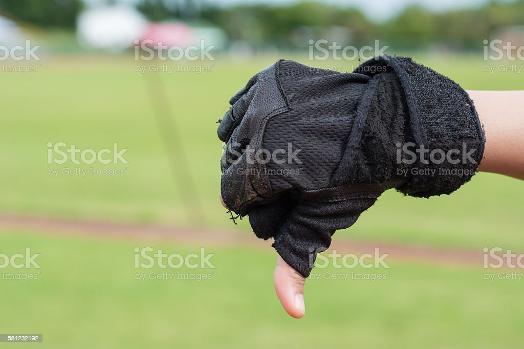 bad hand with sport gloves for say Good stock photo