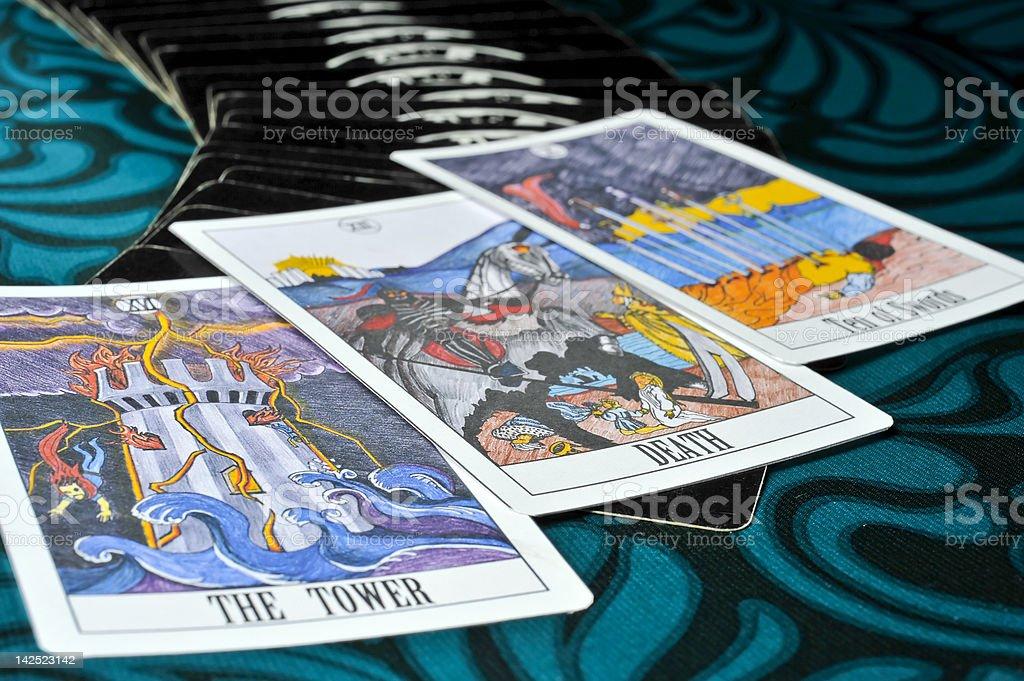 Bad Luck tarot cards stock photo