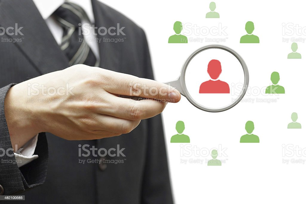 bad manager in magnifying glass stock photo