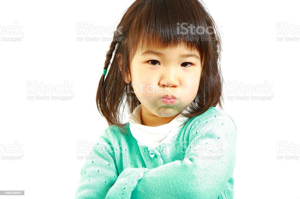 bad mood Japanese little girl royalty-free stock photo