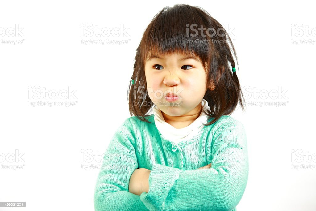 bad mood Japanese little girl royalty-free stock photo