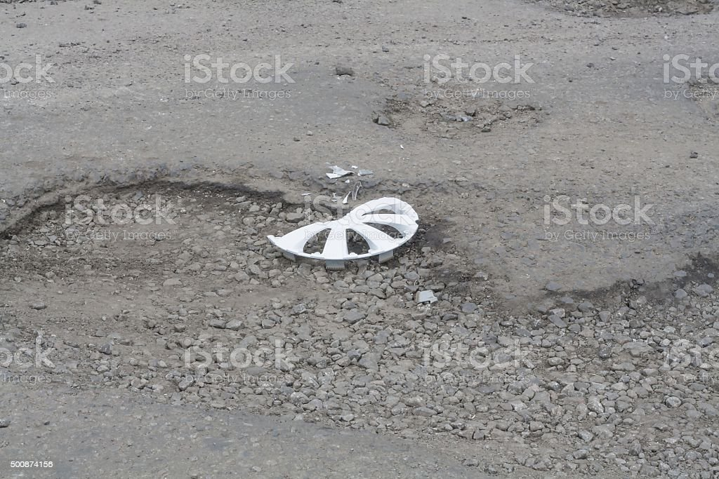 bad road. worn-out asphalt stock photo