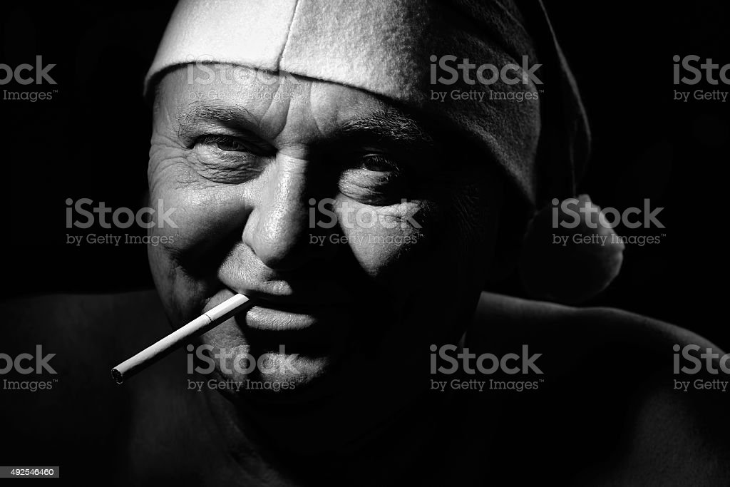 Bad Santa Claus with cigarette stock photo