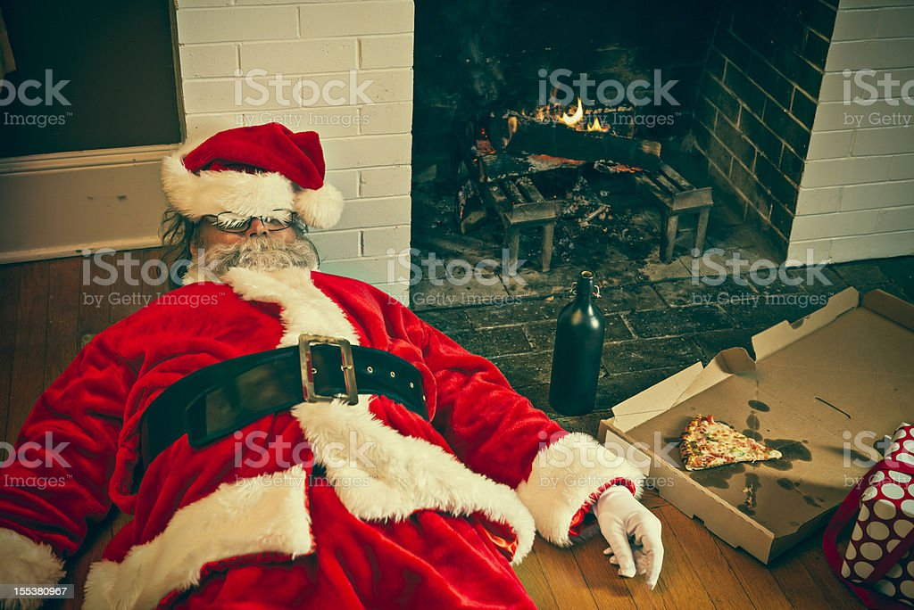 Bad Santa Drunk And Passed Out stock photo