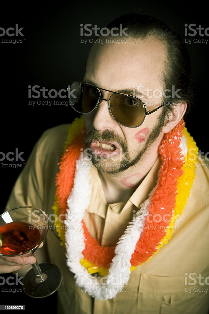 Bad suprise and red cocktail. royalty-free stock photo