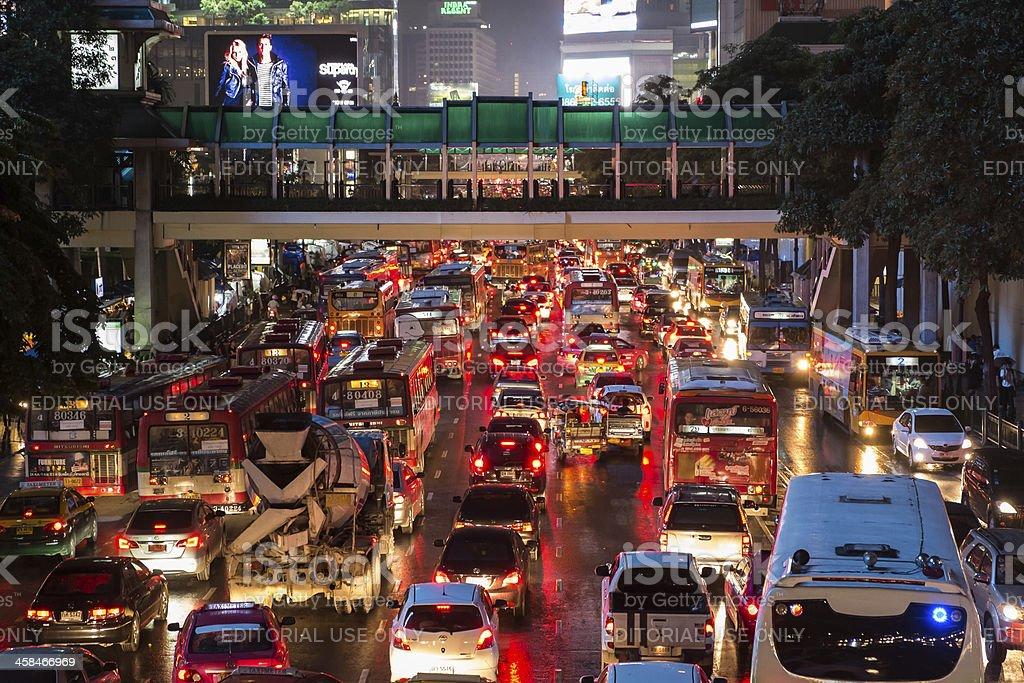 Bad traffic on rainy night at Central World royalty-free stock photo