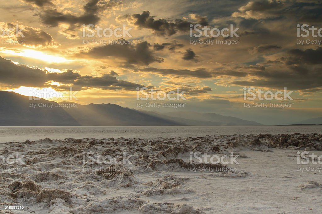 Bad water Basin - Dead Valley National Park at Sunset. stock photo