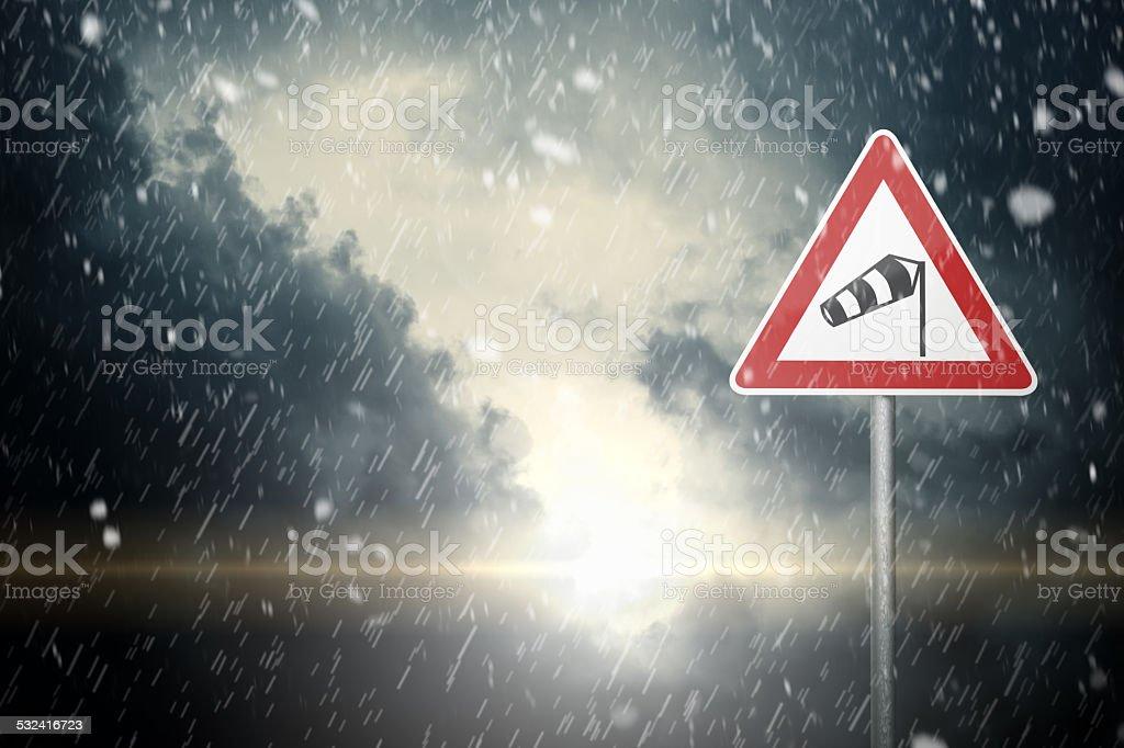 Bad Weather - Caution stock photo