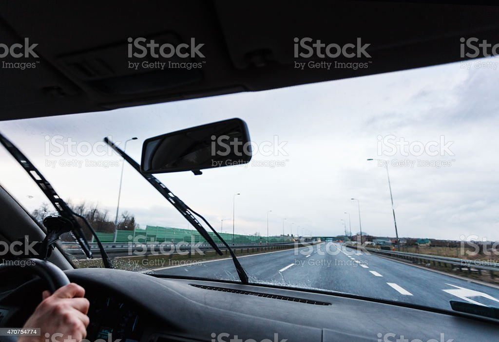 Bad weather driving car stock photo