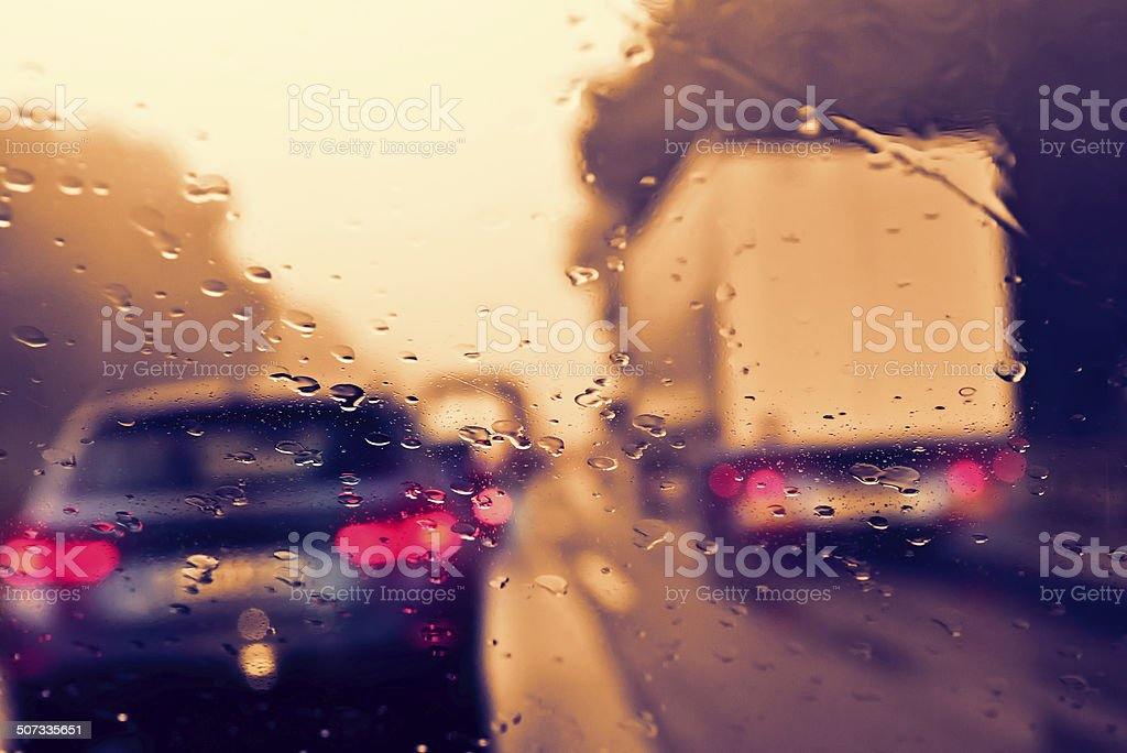 Bad Weather Driving - Traffic Jam on an Expressway (Motorway) stock photo